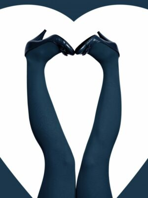 Panty kousen blauw 60 den grote maten